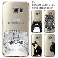 Phone Case for Samsung Galaxy S4 S5 S6 S6Edge S6Edge+ Soft TPU Silicon Transparent Thin Cover Cute Cat Owl Animals Skin Shell