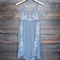 gauzy boho embroidered cami dress in grey
