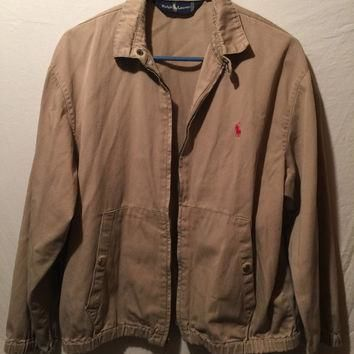 Vintage Polo Ralph Lauren Harrington Bomber Full-Zip Jacket Beige Men's M