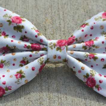 White with Pink Floral Hair Bows by DreamingOfBows on Etsy
