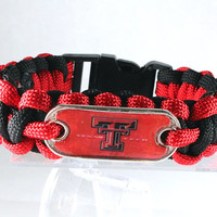 Texas Tech Paracord Bracelet, Red Raiders, Survival Bracelet