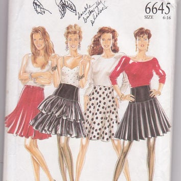 Pattern for set of high waisted, short party skirts: flared, pleated, tiered or ruffled misses size 6 8 10 12 14 16 New Look 6645 UNCUT