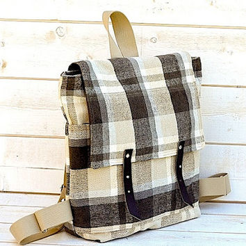 WATERPROOF Backpack in charcoal titanium Whitecap Gray plaid upholstery  12 POCKETS Spring fashion