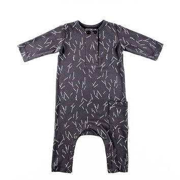 Organic Winter Romper Dark Grey