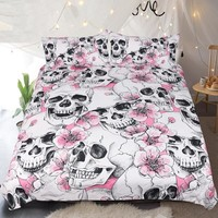 Sugar Skull Bedding Set Cherry Blossoms Duvet Cover Set Pink Floral 3-Piece