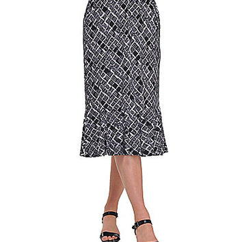 Allison Daley Petite Sketch Square-Print Pull-On Flounce Skirt - Sketc