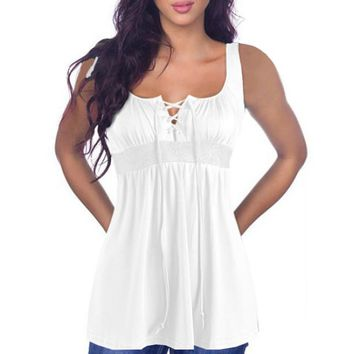 Summer 2017 Sexy Blusas Women Lace Up Bandage Blouses V-neck Sleeveless Casual Stretch Plain Vest Tops Camis Shirts Plus Size