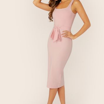 Solid Belted Bodycon Midi Slip Dress