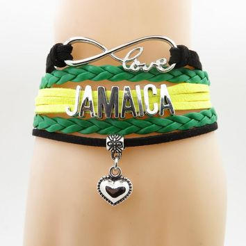 love Country Jamaica Bracelet heart Charm patriot leather bracelets & bangles for Women and men jewelry patriot gift