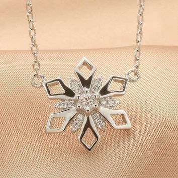 Coleon 100% Real Silver Luxury Snowflake Pendant Necklace with Varies Gemstones 925 Sterling Women