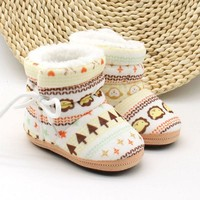 Kids Baby Autumn Winter Warm Fleece Soft Soled Crib Cute Pattern Shoes Girls Boys Toddlers Snow Boots Sneakers
