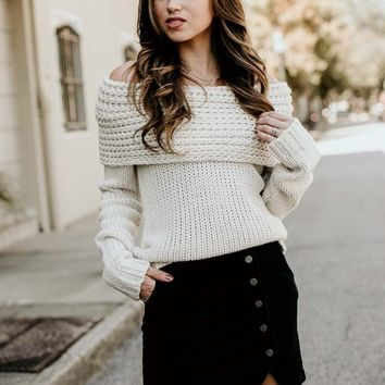 The Peyton Cowl Neck Ivory Sweater