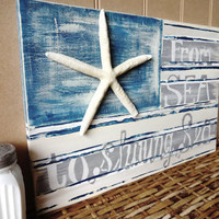 From Sea To Shining Sea Nautical Starfish Beach House Flag