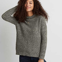 AEO Mock Neck Jegging Sweater, Olive