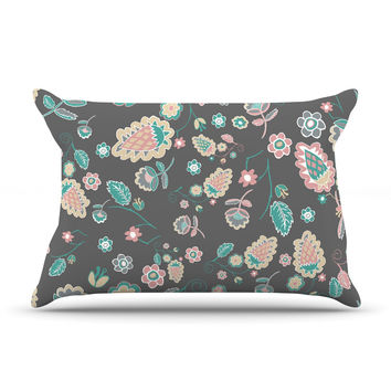 "Nika Martinez ""Cute Winter Floral"" Gray Pastel Pillow Case"