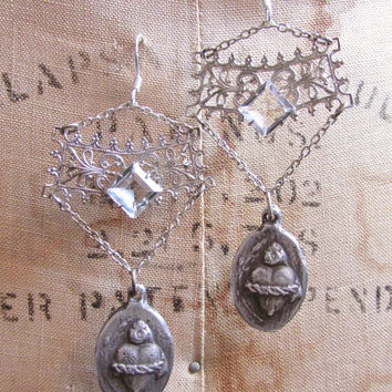 Crystal bezel earrings sacred heart religious filigree sterling silver one of a kind jewelry