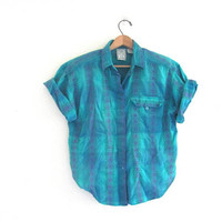 80s tribal shirt. button up shirt. turquoise blue top