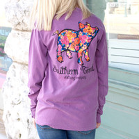 Rose Print Proud Pig Long Sleeve Tee {Berry}