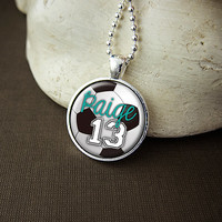 Personalized Soccer Pendant Necklace, Custom Soccer Ball Necklace, Soccer Team Pendant, Soccer Mom