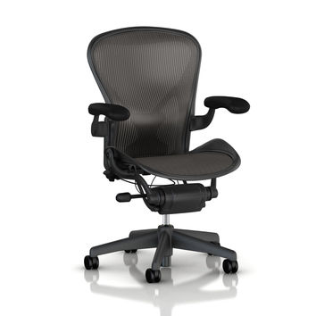 Herman Miller Classic Aeron Task Chair: Highly Adj w/PostureFit Support - Tilit Limiter w/Seat Angle Adj - Fully Adj Vinyl Arms - Carpet Casters Graphite Frame/Carbon Classic Pellicle Size C (Large)