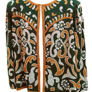 Evening Jacket by Laurence Kazar in Gold & White Hand Beading on Green Silk Fabric - Fits Size Large