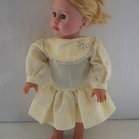 Handmade for American Girl Doll Long Sleeve Yellow Dress by vw53
