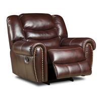 Salinger Burgundy Leather Recliner by Corinthian Furniture