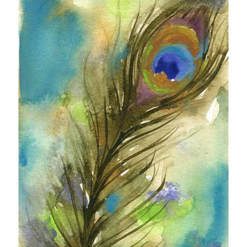 Peacock Watercolor Painting - 8x10 Fine Art Print - Bird Artwork - Feather Painting