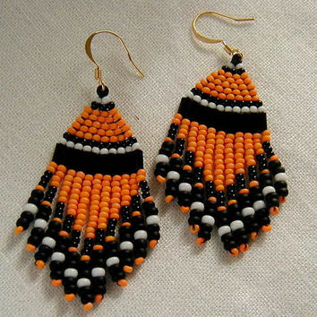 Halloween Native American Style Beaded Dangle Earrings  ~Halloween Earrings~Boho Earrings,Native American Beadwork,Orange and Black Earrings