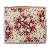 Red Deco Geometric Nature Collage F Woven Blanket