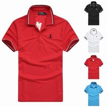 CREYLD1 LUCKY SAILING  Men's brand Clothing Embroidery T-Shirts Top Tees Running Sports T shirt