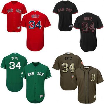 Green red grey white Celtic David Ortiz Authentic Jersey , Men's #34 Majestic Boston Red Sox Flexbase Collection