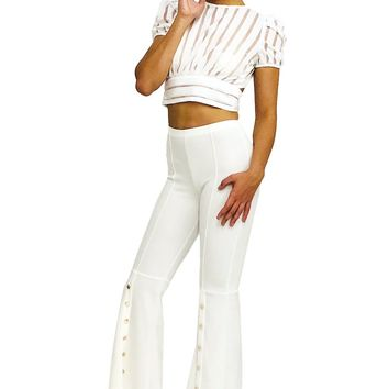 High Waisted Wide Flared Gold Button Elastic Waist Pants