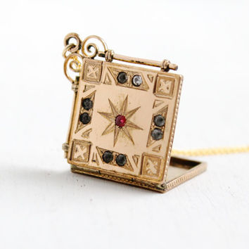 Antique Rhinestone Star Square Locket Necklace- Late 1800s Gold Filled Victorian Fob Vintage Jewelry