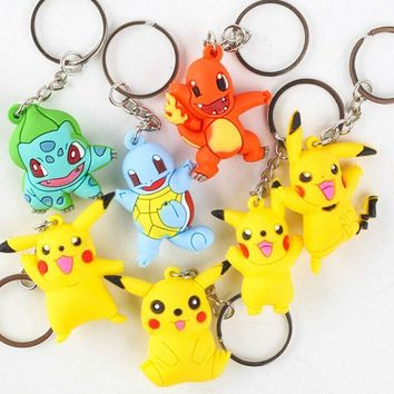 by FEDEX 100pcs/lot New  Go Keychains PVC Silicone Keyrings for GiftsKawaii Pokemon go  AT_89_9