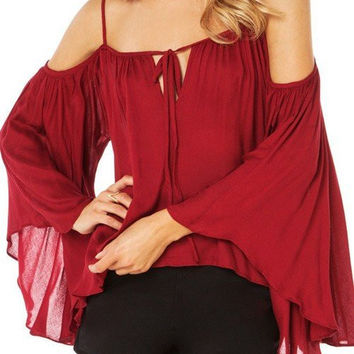 Cold Shoulder Bat Sleeves Chiffon Blouse in Red