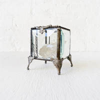 Beveled Glass Jewelry Box with Quartz Crystal by EarthSeaWarrior