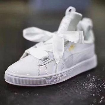 CREYON3A VAWA Puma Classic High Patent Leather Skate Shoes White Golden