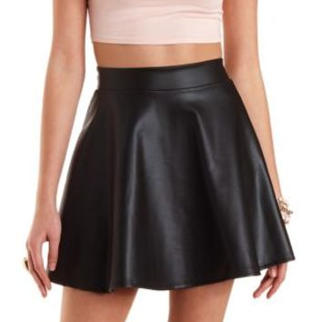 Faux Leather Skater Skirt by Charlotte Russe - Black