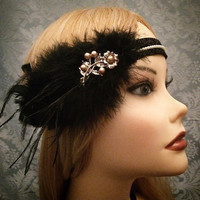 20s style Black Pearl Beaded Silver Brooch Art Deco Style Flapper Gatsby Ostrich Feather Headband Wrap Head Piece 1920s 20s 1920's headpiece