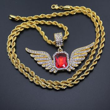 Ruby Gold Wing Necklace