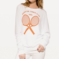 TENNIS CLUB '66 BAGGY BEACH JUMPER at Wildfox Couture in  BANANA SPLIT, -CLEAN WHITE