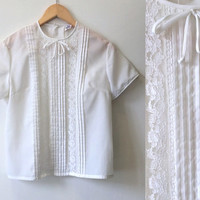 1950s Vintage Blouse - White Lace Blouse - 50s 60s - Med Large