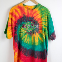 HARD ROCK CAFE shirt / jamaica tye dye tshirt / save the planet tee / tie dye / hippie hipster / psychadelic / vintage / adult / large