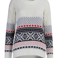 White Folk Pattern Long Sleeve Knit Jumper