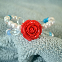 Red Rose Beaded Bracelet Paired With White Glass Pearls and Blue Stone Beads