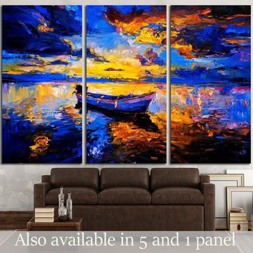 Original oil painting on canvas. Sky sunset and boat on the water    №3240