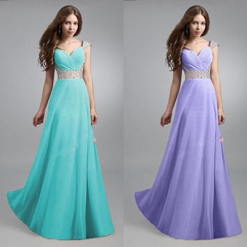 Women Long Chiffon Bridesmaid Formal Gown Ball Party Cocktail Evening Prom Dress = 1946956164