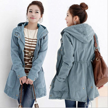 Single-breasted long coat England style Lady cowboy windbreaker