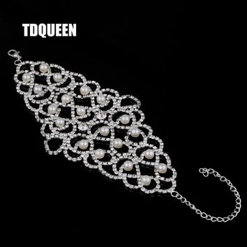 TDQUEEN Woman Bracelets Simulated Pearl Rhinestone Silver Color Arm Jewelry Wedding Party Wide Slave Cuff Bangles And Bracelets